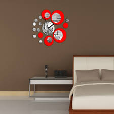 fashion stereo round mirror homen decoration wall clock red
