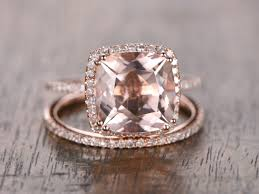gold and morganite ring 9mm cushion cut pink morganite ring set 14k gold morganite
