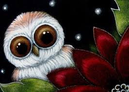 Barn Owl Holidays Holiday Baby Barn Owl With Red Poinsettia Flower By Cyra R