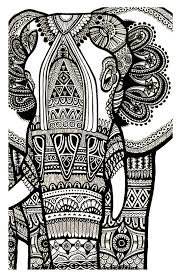elephant te print free animals coloring pages adults