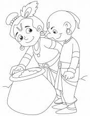 krishna sudama colouring pages coloring