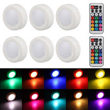 lights kitchen cabinets battery operated eeekit 6 pack wireless led puck lights color changing led cabinet lighting with remote battery powered dimmable closet kitchen lights