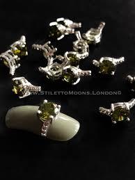 stunning green zircon nail jewel diamond ring style nail art band