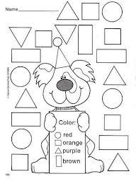 color the shapes worksheet worksheets