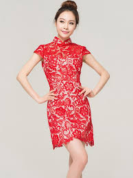 red short lace qipao cheognsam chinese wedding dress