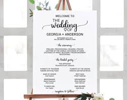 wedding program sign rustic wedding program fan template printable order of