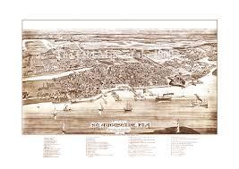 Birds Eye View Maps St Augustine Florida In 1885 Bird U0027s Eye View Map Aerial