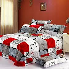 romantic red bedroom decor with red white plaid queen bedding bed bath and beyond