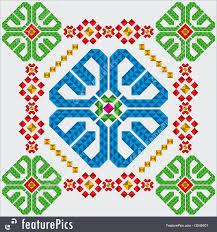 illustration of traditional mexican ornament fragment