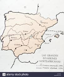 Cordoba Spain Map by Map Showing Moslem Invasions Of Spain Between 1099 1214 Ad Stock