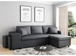 canapé avec pouf canapé d angle convertible en lit avec poufs oslo gris foncé