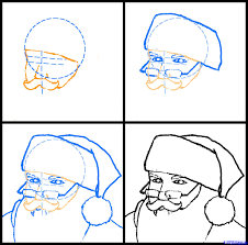 how to draw santa realistic santa step by step christmas stuff