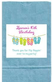 flip flop bag flip flops pool party goodie loot bag labels favors
