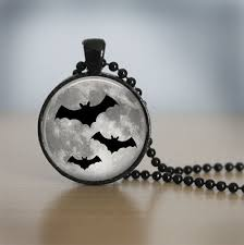 halloween necklace glasstile necklace moon jewelry glass tile