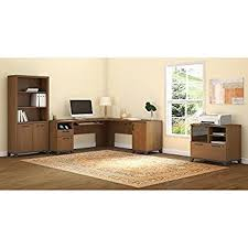 amazon com achieve l shaped desk with printer stand file cabinet