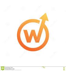 stylish letter w with arrow symbol creative design stock vector