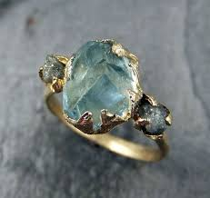 gem stone rings images Raw uncut aquamarine diamond gold custom one of a kind gemstone jpg