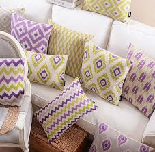 purple yellow geometric pillow almofadas case for seat chair car