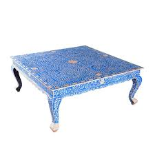 coffee table blue bone inlay coffee table by art of old india