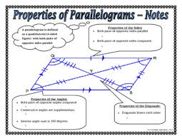 properties of parallelograms worksheet properties of parallelograms notes and assignment