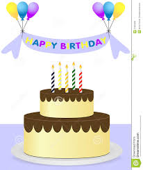 happy birthday background with cake and balloons stock photo