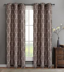 Curtain Panels Single Gael Taupe Faux Silk Window Curtain Panels W Grommets