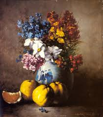 a still life with a vase of flowers and fruit