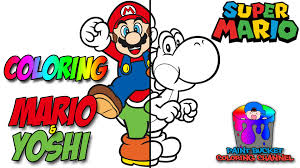 how to color mario and yoshi nintendo super mario coloring page