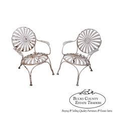 Metal Garden Chair 9104 Antique 1930s Pair Of Sunburst Patio Metal Garden Chairs