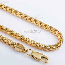 customized necklace best wholesale 5mm mens chain boys jewellery wheat link yellow