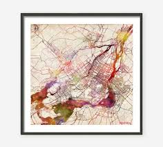 montreal map montreal painting watercolor canada giclee