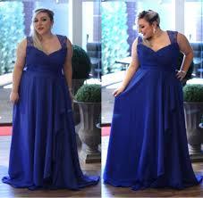 plus size custom made a line chiffon prom dresses royal blue