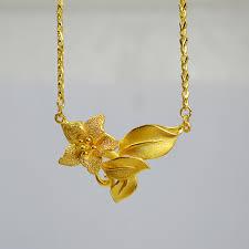 anting emas 24 karat kalung bunga 24k siola