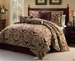 7 pc queen galloway burgundy u0026 gold jacquard floral print