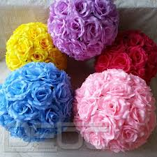 Artificial Flowers Home Decor by 20 Colors Silk Rose Pomander Flower Kissing Ball Wedding Party