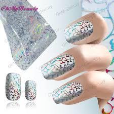 2 roll beauty nail art foil sticker decal laser silverlace pattern