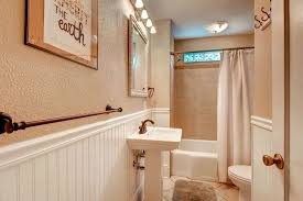 Tiled Wall Boards Bathrooms - cottage full bathroom with high ceiling u0026 pedestal sink in