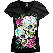 black t shirt sugar skulls with roses kraneos com