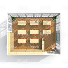 3d interior rendering plan view of furnished brown library stock