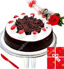 order send midnight online 1kg black forest cake single roses