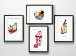 modern kitchen art set of 4 studio ghibli watercolor kitchen art 5x7 prints