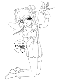 from mew mew anime coloring pages for kids printable free