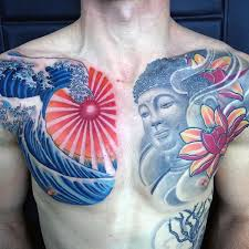 collection of 25 japanese waves chest tattoos