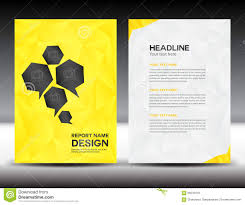 yellow cover annual report template polygon background brochure