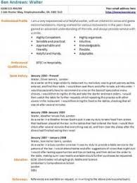 Resume Example For Waitress by Waiter Cv Example Job Pinterest Cv Examples