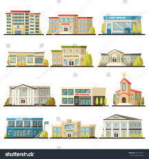 colored isolated municipal buildings icon set stock vector