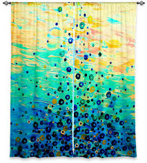 what goes up 6 teal blue mint ombre art window curtains