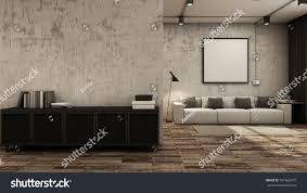 livingroom interior design loft black metal stock illustration