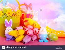 easter egg hunt eggs happy easter egg hunt baskets with tulip flowers and eggs with