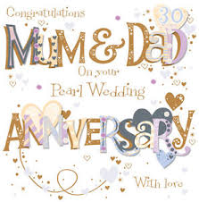 anniversary greeting cards pearl 30th wedding anniversary greeting card by talking